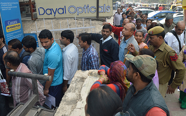 Chaos from note ban continues as queues swell at banks, ATMs