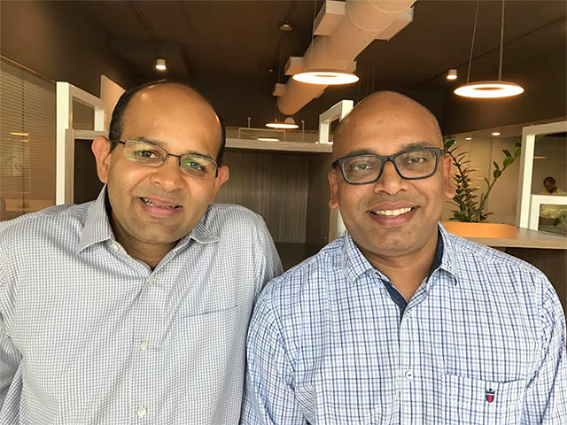 EzCred co-founders Sachin Maheshwari (left) and Amiya Pathak