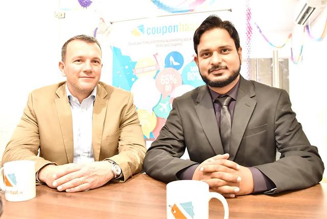 L to R: Angel investor Alex Wawrina and Couponhaat founder Vipn Kumar Yadav